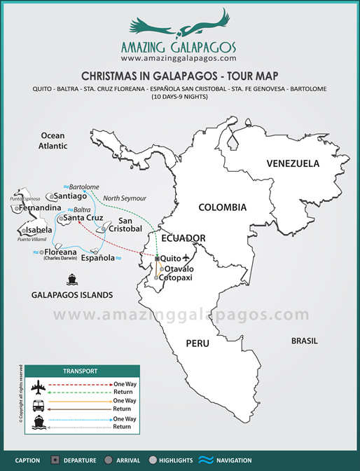 Tourmap Christmas in Galapagos  2018 - 8 day cruise on the Galaxy Yacht
