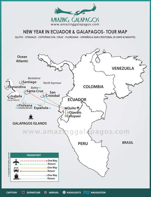 Tourmap New Year in Ecuador & Galapagos 2018 - 4 day cruise on the Galaxy Yacht